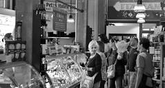 Dilaurenti Crowd (sea turtle) Tags: seattle city urban blackandwhite bw shop blackwhite store italian downtown market shops pikeplacemarket stores italianmarket pikemarket dilaurenti