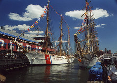 US COAST GUARD EAGLE & NRP SAGRES at South Street Seaport, New York, USA. 2000 (Tom Turner - SeaTeamImages / AirTeamImages) Tags: nyc coastguard usa newyork classic water museum port vintage harbor pier dock marine ship unitedstates eagle harbour manhattan military ships transport navy vessel celebration event pony maritime southstreetseaport transportation eastriver 17 tallship docked bigapple waterway sailingship barque guanabara sagres pier17 johnstanley uscgceagle southstseaport tomturner blohmvoss uscgeagle usacoastguard schoolship threemasted horstwessel nrpsagres portuguesenavy operationsail albertleoschlageter wix327 sagresiii uscoastguardeagle steelbuilt