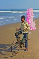 Candy floss (goa974) Tags: life pink india men beach bicycle work bay nikon candy bell sweet sugar pi trading bags nikkor bengal floss pondicherry pondy spun puducherry