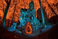The stone giant's mouth (palateth) Tags: wood portrait lightpainting stone night forest ruins belgium belgique belgie lightart fayenbois