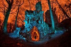 The stone giant's mouth (palateth) Tags: lightpainting lightart portrait night forest wood stone fayenbois ruins belgique belgium belgie domaine de