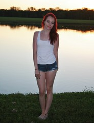 Beauty at Sunset (PhotoAmateur1) Tags: pink blue autumn sunset shadow red portrait woman white hot reflection sexy green fall feet water beautiful beauty face crimson grass fashion shirt female contrast scarlet hair neck outside book photo outfit model glamour eyes colorful toes long pretty shoot tank arms legs head top feminine background character gorgeous chest femme butt fingers style lips september redhead jeans cover barefoot attractive denim session shorts lovely cleavage shoulder throat radiant slender stylish daisydukes damsel sportswear teegan