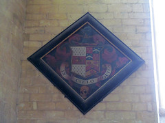 Pershore Abbey, Worcs (pefkosmad) Tags: uk england church abbey wall worship interior diamond funeral inside worcestershire anglican funerary placeofworship hallowedground churchofengland pershore hatchment englandsthousandbestchurches