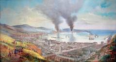 """a 150 aos del   bombardeo espaol a valparaiso. la obra es    William Gibbons """"Valparaso Chile during the bombardment by the admiral Mndez Nez"""". leo sobre tela Ca. 1870 97x51 cm (santiagonostalgico) Tags: valparaiso bombardment"""