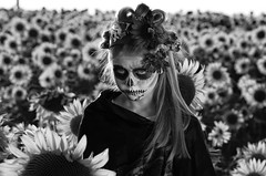 Wicked (MickMo10) Tags: portrait blackandwhite bw girl face field photography skull paint pentax naturallight f10 sugar wicked sunflowers reflector sugarskull pentax50135f28lens