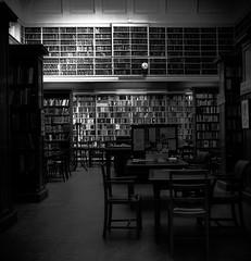 Library (bladeshunner1) Tags: light shadow blackandwhite monochrome noir library room indoor books bookshelf
