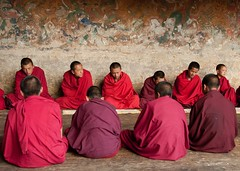 Bhutan (silvia.alessi) Tags: travel red people ancient nikon asia pattern bhutan buddha prayer religion pray ngc group monastery monks lonelyplanet dzong dalailama traveler buddhistic youngmonks