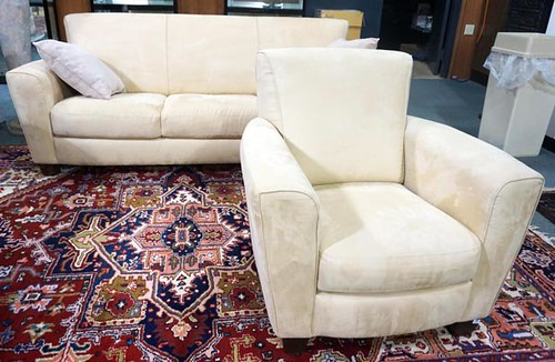 NATUZZI Suede Sofa & Chair ($330.00)