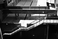 deserted (Mr Ian Lamb) Tags: light architecture publicspace stairs buildings dark shadows walkway deserted levels newcastleupontyne