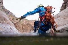 Swamp Thing (Braden Gunem) Tags: arizona wet water standing rope canyon climber drysuit canyoneering canyoneer