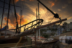 The marina (Tony Shertila) Tags: sunset weather clouds geotagged boats evening europe day cloudy outdoor greece crete boatyard grc agiosnikolaos geo:lat=3518798791 geo:lon=2572103798 20160410193646