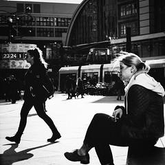 Cigarette brake (Ayoub Benali) Tags: street people bw sun sunlight berlin germany walking spring fuji cigarette citylife streetphotography silouette afterwork alexanderplatz fujifilm streetphoto bwphotography x20 cigarettebreak cityphotography bwcrew bwmasters fujix20