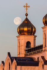 Full Moon Moscow (vladimir.vozdvizhenskiy) Tags: moon landscape dawn moscow moonset    christthesaviorcathedral