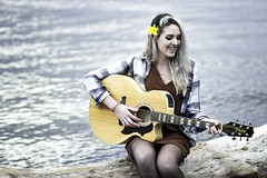 Katie 1 (Chris Whit) Tags: wood portrait people musician music newyork water smile canon river log photoshoot guitar upstateny musical talent acoustic hudsonriver hudson breeze tones hudsonvalley teamcanon chriswhitphoto katiehoffstatter