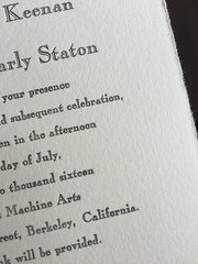 Open Caslon on Fabriano (artnoose) Tags: wedding metal paper berkeley open invitation type letterpress invitations fabriano caslon