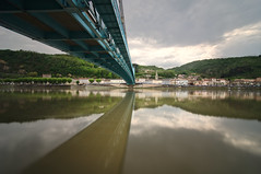 Blue Suspension (alex notag) Tags: bridge blue reflection landscape rhne tokina pont rhone suspendu 1116mm serrire