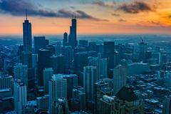 The Sun Sets on Chicago (nancystrickland) Tags: sunset snow chicago skyscraper johnhancockcenter observationdeck