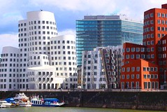 Dsseldorf (ClaDae) Tags: voyage travel white building architecture modern germany deutschland view architektur dsseldorf gebude medienhafen