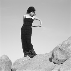 Magdalena + Boulders, Los Angeles, California, 2012 (Halim Ina) Tags: california film girl monochrome zeiss photography dance fuji photographer kodak modeling sony documentary hasselblad onfilmphoto
