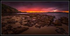 The Bolt (Jo Langtry) Tags: ocean beach sunrise rocks nsw lightning woolongong 2016 hill60 canon1740f4 sonya7r may2016