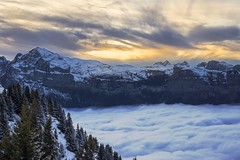 Euphoria (Ambra Marras) Tags: travel trees winter sunset sky snow france mountains alps sport clouds canon landscape europe nuvole hiking nieve seasonal adventure ciel cielo neve snowshoeing monte euphoria montaa francia montagna flaine breathtaking frenchalps wintersports nuebles