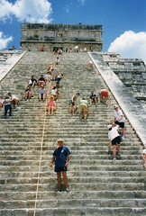 Chichen Itza, Yucatan, Mexico (rossendale2016) Tags: old monument stone architecture walking mexico religious high ancient worship praying steps yucatan rope tourist human mayan massive strong handrail difficult impressive chichen imposing attraction steep sacrifice itza descending ascending