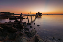 Good Morning Jelutong (zollatiff) Tags: ocean morning travel seascape reflection nature colors sunrise landscape dawn pier twilight scenery ray calm malaysia penang tranquil dilapidated waterscape leegndfilter nikkor1024 nikond7100 jelutongjetty zollatiff fishermenjetty