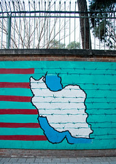 anti-american mural propoganda on the wall of the former united states embassy, Central district, Tehran, Iran (Eric Lafforgue) Tags: street usa history vertical painting outdoors photography us artwork mural memorial asia paint unitedstates iran map propaganda painted flag political politics cartoon antiamerican persia nobody streetscene embassy billboard national memory conflict tehran revolutionary blockade heroic teheran antiamerica centraldistrict ambassy commemorate    denofespionage iro antagonistically  colourpicture  irandsc01290