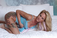 Blonde Model Blue Lingerie (lilbitrisque) Tags: sexy ass beautiful panties pose naughty bed model bedroom breasts tits legs boobs modeling gorgeous butt posing stomach babe curvy lingerie tattoos thighs blond booty blonde lovely tease teasing bigbreasts sexiness faketits dcups