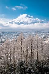 Cloudy and Snowy (Yuga Kurita) Tags: travel winter snow nature japan landscape fuji mt mount snowscape fujiyama fujiisan