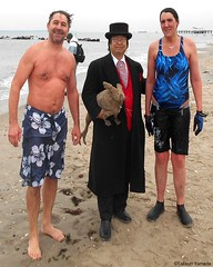 Dr. Takeshi Yamada and Seara (Coney Island Sea Rabbit) at the winter swimming event by the Coney Island Polar Bear Club at the Coney Island Beach in Brooklyn, New York on January 17 (Sun), 2015.  mermaid & merman.  20160117Sun DSCN3462=3025pC1 (searabbits23) Tags: winter ny newyork sexy celebrity art beach fashion animal brooklyn asian coneyisland japanese star yahoo costume tv google king artist dragon god cosplay manhattan wildlife famous gothic goth performance pop taxidermy cnn tuxedo bikini tophat unitednations playboy entertainer samurai genius donaldtrump mermaid amc mardigras salvadordali billclinton hillaryclinton billgates aol vangogh curiosities bing sideshow jeffkoons globalwarming takashimurakami pablopicasso steampunk damienhirst cryptozoology freakshow barackobama polarbearclub seara immortalized takeshiyamada museumofworldwonders roguetaxidermy searabbit ladygaga climategate