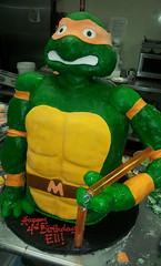 Mutant Ninja Turtle Birthday Cake (tasteoflovebakery) Tags: birthday sculpture orange green yellow cake kids turtle ninja cartoon mutant