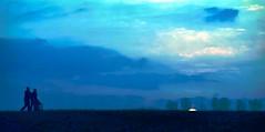 Abendspaziergang.. (cornelia_auguste) Tags: abendstimmung abendlicht abendstunde blaue stunde siluetten wolkenstimmung natur rheinaue düsseldorf himmel outdoor dämmerung