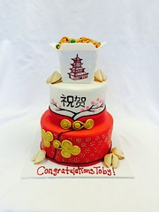 Chinese Food Congratulation Cake (tasteoflovebakery) Tags: red food white 3 black cake chinese congratulations tier congrats