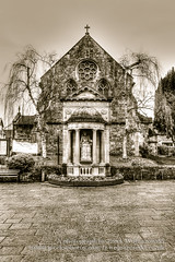 Statue dedicated to Queen Victoria in Minehead Somerset (Jacek Wojnarowski Photography) Tags: uk winter england statue vertical architecture europe outdoor somerset hdr sepiatone blackandwhitephotography minehead 6x4 splittoning sepiaphoto
