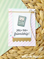 you+me=friendship LFcard (fridayfinally) Tags: pink baby gold stencil friendship teal calculator sequins twine handmadecard softcolors copicmarkers happycolors distressink happycard lawnfawn lawnfawnstamps simonsaystamp prettypinkposh