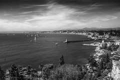 a trip to Nice is always a nice trip (lunaryuna) Tags: sea sky bw monochrome beauty clouds landscape blackwhite nice mediterranean cotedazur lunaryuna azur southernfrance latesummer sailingboats panoramicview theenchantmentofseasons baydesanges