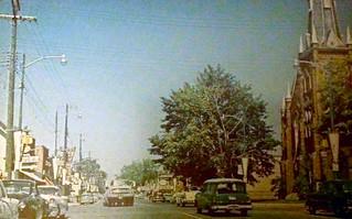 Colborne Street with Knox Presbyterian Church 1955