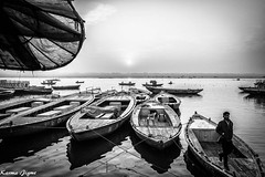 The sacred river (karmajigme) Tags: travel blackandwhite india monochrome river nikon noiretblanc varanasi ganga ganges