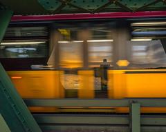 Bridge Selfie (bombeeney) Tags: seattle bridge sunset red reflection bus green yellow metal reflections washington steel frame pacificnorthwest bolts ballard pnw selfie ballardbridge a7r