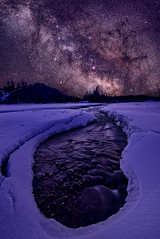 thawing seasons (simonsphotos2011) Tags: travel sky snow water night creek way stars landscape happy photography spread nikon nightscape wyoming milky earthday milkyway d600 landscapephotography tetonnationalpark spreadcreek