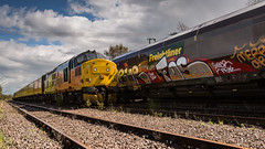 Colas Railfreight Class 37/0 no 37175 at the front of a Network Rail Test Train at Thoresby Colliery Sidings on 25-04-2016 (kevaruka) Tags: greatbritain england orange color colour colors yellow train canon spring mine flickr track colours unitedkingdom transport railway trains pit mining april 5d frontpage dull nottinghamshire 1635 thoresby edwinstowe clipstone 2016 colas 37175 37424 cpal testtrain canon5dmk3 5dmk3 canonef100400f4556l 5d3 thoresbycolliery 5diii colasrailfreight canoneos5dmk3 ilobsterit highmarnhamtesttrack