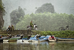 Emerald Patrol (galushchak) Tags: travel portrait people reflection green fog river march boat vietnam genre 2016 ninhbinh northvietnam galushchak emeraldpatrol