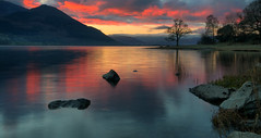 Bassenthwaite Lake Sunrise (Andy Watson1) Tags: park uk trip morning travel light shadow vacation england cloud mist mountain lake holiday reflection tree english water clouds sunrise canon landscape march countryside early spring scenery rocks view britain district united great north lakedistrict scenic sigma kingdom national cumbria british keswick skiddaw bassenthwaite 70d