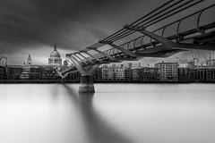 Millennium Bridge (Luke Hanna) Tags: uk bridge sky white black london water st thames skyline clouds river long exposure cathedral pauls millennium
