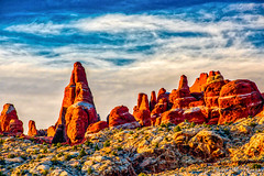 Fiery Furnace Sunset (MarcCooper_1950) Tags: blue sunset sky orange mountains yellow clouds landscape outdoors nikon rocks cloudy hills aurora stunning hdr fieryfurnaces lightroom vibrantcolors d810 rocktowers scenicsnotjustlandscapes marccooper archesnatiomalpark