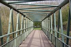 Frame-work Bridge! (RiverCrouchWalker) Tags: bridge metal triangles square shadows path perspective tie engineering structure beam framework essex struts walthamabbey leevalleypark crossingpoint leevalleycountrypark