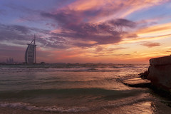 Sunset near Burj Al Arab - Dubai (Waheed Akhtar Photography) Tags: pictures travel sunset sea sky beach beautiful clouds canon landscape photography hotel amazing dubai photos pics burjalarab jumeirah 6d landscapephotography 7starhotel beachphotography sunsetphotography canon6d waheedakhtar