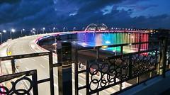 Dancing H20 - Sunrise of Bulak (Detta Priyandika) Tags: bridge fountain sunrise indonesia surabaya jembatan
