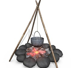 Campfire (Shahid Abdullah) Tags: camping vacation tourism cooking nature kitchen metal stone forest fire 3d model woods fireplace iron picnic outdoor hiking adventure burning campfire flame bonfire heat hanging exploration polygon utensil boiling